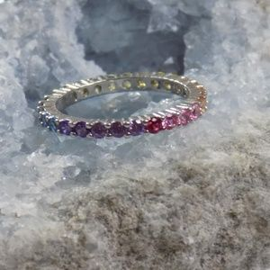 rainbow ring stacking eternity band cubic zirconia